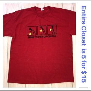 Men's Red Pick Up Chicks Graphic Tee T-shirt